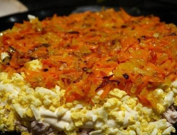 Салат с курицей жареными грибами корейской морковью рецепт с
